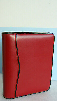 Compact 1.25 Rings Red Sim. Leather Franklin Covey Open Plannerbinder Nice