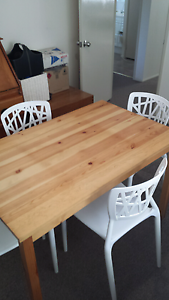 Pine dining table and 4 Chairs Heathcote Sutherland Area Preview