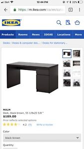 IKEA desk and chair.