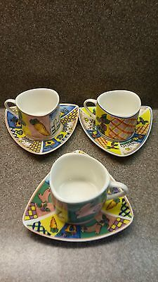 SET OF 3 CLASSIC PORCELAIN CUP AND SAUCER DEMITASSE ESPRESSO COFFEE AND TEA
