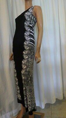 NWT ROAMANS PLUS SIZE 22W/24W BLACK WHITE GRAY STRETCH KNIT MAXI DRESS BUST 54