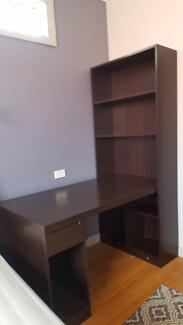 Combination Workstation Computer Desk with Bookcase shelves
