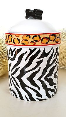Dog & Cat Pet Food Castlemere Treat Ceramic Jar zebra leopard UNUSED Canister