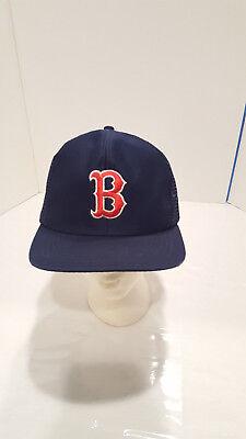 Vtg 90S Mlb Boston Red Sox Snapback Trucker Hat M L Big Logo Playoffs Og
