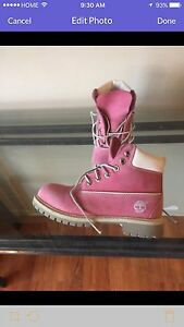 Girls pink Timberland boots