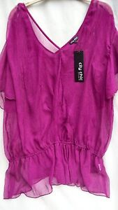 City Chic Madame Butterfly Top + Cami size XL 24 in Purple Orchid short sleeve