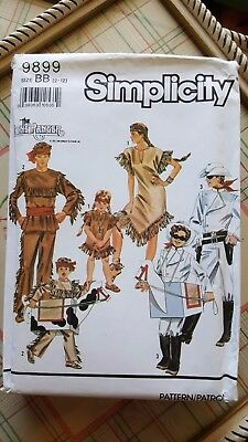 Simplicity Childs Lone Ranger Tonto Silver Scout Costume Pattern 9899  2-12 UNC