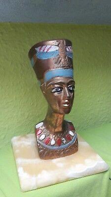 Nofretete , Ägyptische DekoFigur  Pharo 16cm  schwere Büste auf Marmor Sockel