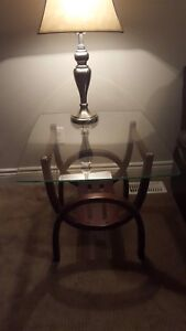 Modern glass end tables & set of brushed nickel lamps