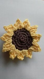 Crochet sunflower brooch, gift, present,wedding corsage, autumn,