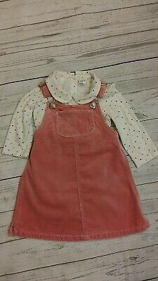 GAP 18-24 Month Pink Velvet Overall Jumper Dress Polka Dot Bodysuit Shirt Outfit