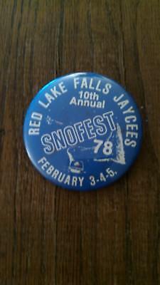 Vintage Collectible ButtonPinBack Jaycees 10thAnnual SnoFest RedLakeFallsMN 1978