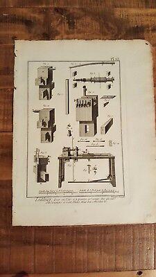 1 Engraving, Titled - LUTHIER, tour en lair et a pointes a l'usage - Mid 1700s
