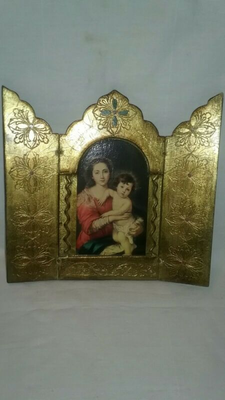 "VTG Italian Florentine Gold Gilt Triptych Madonna/Child Folding Picture 9"" tall"