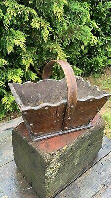 Fantastic Vintage Wooden Trug Garden Basket Box With Carry Handle *