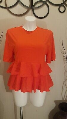 H&M  top Blouse with frills in front Size L Gently Used ,No Flaws ,Short Sleeve