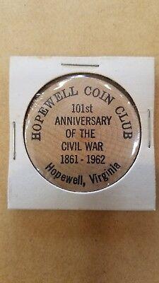 Vintage Wooden Nickel Hopewell Virginia Coin Club 101st Anniv Civil War 1962   n