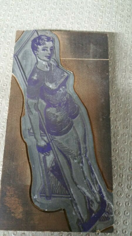 "Vintage Metal Printing Block Plates Woman in Bondage 7"" x 3.5"""