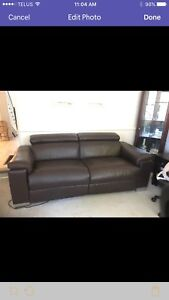 Leather electric lay back couch sofa