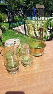Vintage Green & Gold Glass Jug and Glasses
