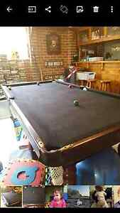 Wooden slate pool table with black felt Wattle Grove Liverpool Area Preview