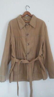 Vtg Montgomery Ward Xl Corduroy Coat Mens Brown Jacket Safari College Professor