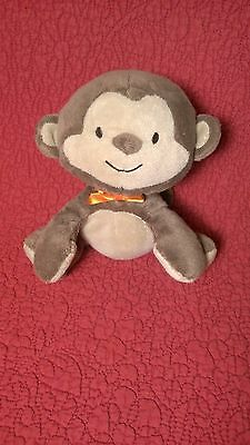 "6"" Carter's MONKEY BEANIE brown plush stuffed w/ orange bow baby toy"