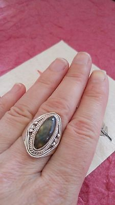Vintage Ring STERLING Silver Blue Green flash Labradorite gemstone oval 8g sz 8](Cheap Halo Costume)