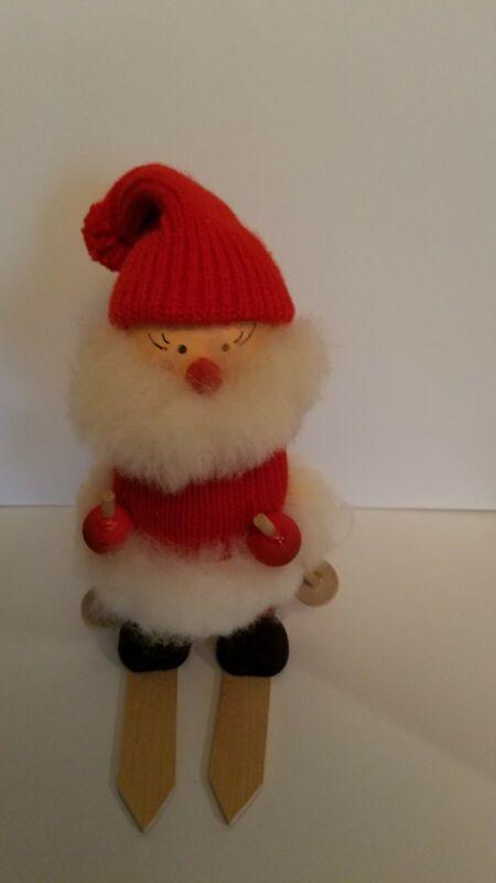 VNT Swedish Wooden Gnome skier. Handmade. Ljundstroms of Sweden. Adorable!