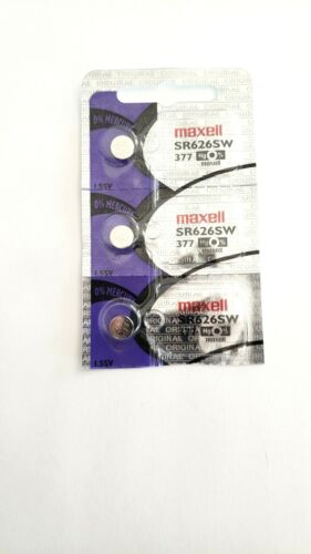 Fast Ship - 3 Maxell Watch Batteries-377A /LR 626 /Ag4-USA- EX- Date-2025
