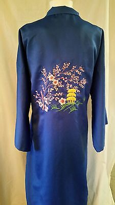 Japanese Kimono Robe Blue Polyester with Cherry Blossom Embroidery Sz Large
