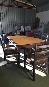 Antique Dining Table with Chairs and Extender Toodyay Toodyay Area Preview