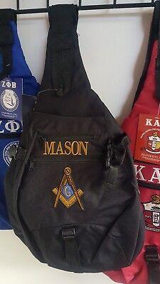 Freemason Masonic Sling Backpack Bag Mason Fraternity Sling Bag Shoulder strap (Frat Straps)