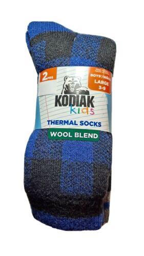 KODIAK Kids Boys Thermal Socks Wool 2 pair pack NEW Size L 3-9  Black/Blue