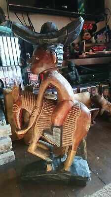 African Art Horse and rider Wooden Statue (heavy)!