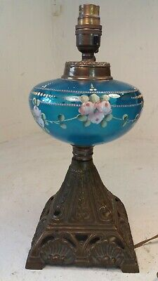 Antique Glass Oil Lamp , Converted to Electric