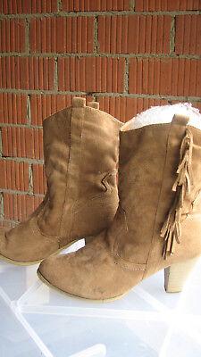 Western / Cowboy Style Stiefel Wildleder gebraucht mit Fransen Gr42 TOP Erhalten