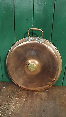 Vintage Copper & Brass bed warmer pan     Polished for display