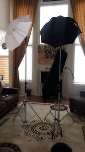 2 Photography Light Stands with umbrella. include bag & tripod