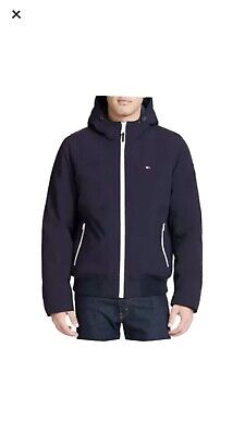 NWT Tommy Hilfiger Mens Hooded Soft-Shell Bomber Jacket Navy Blue Size L