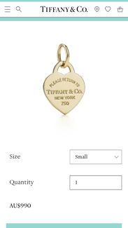 18ct / 18k GOLD TIFFANY & CO. HEART TAG CHARM/PENDANT