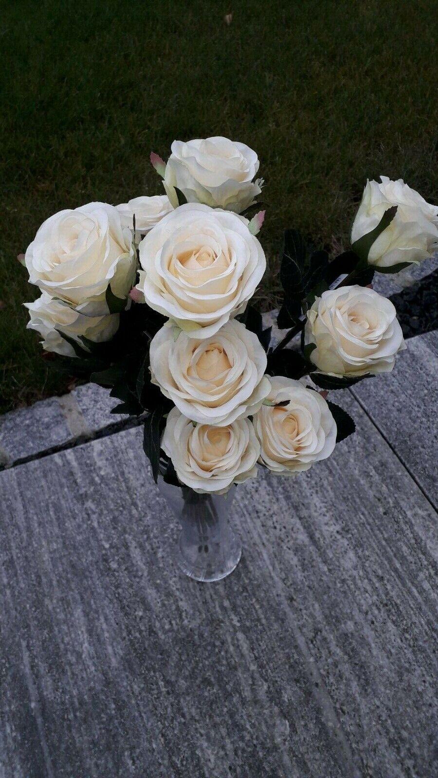 Kunstblumen seiden  Rosen Dekoration 12 stück weiss
