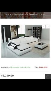 Beautiful genuine leather sectional couch