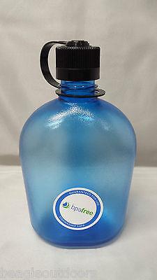7b603eeeac NEW Nalgene Oasis 38mm Narrow Mouth 32oz Canteen Water Bottle Blue w/Black  Lid