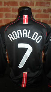 2007-2008 Ronaldo #7 Manchester United  Away Football Shirt medium (16019) LS