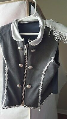 childs medium dance vest add your own skirt silver and grey