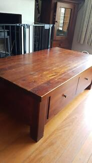 coffee table with 2 large draws