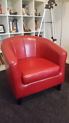 Red leather couch and 2 armchairs in near new condition Cranbourne South Casey Area Preview