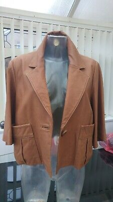 GENUINE LEATHER JACKET NEXT SIZE 20 3/4 SLEEVE LIGHT TAN