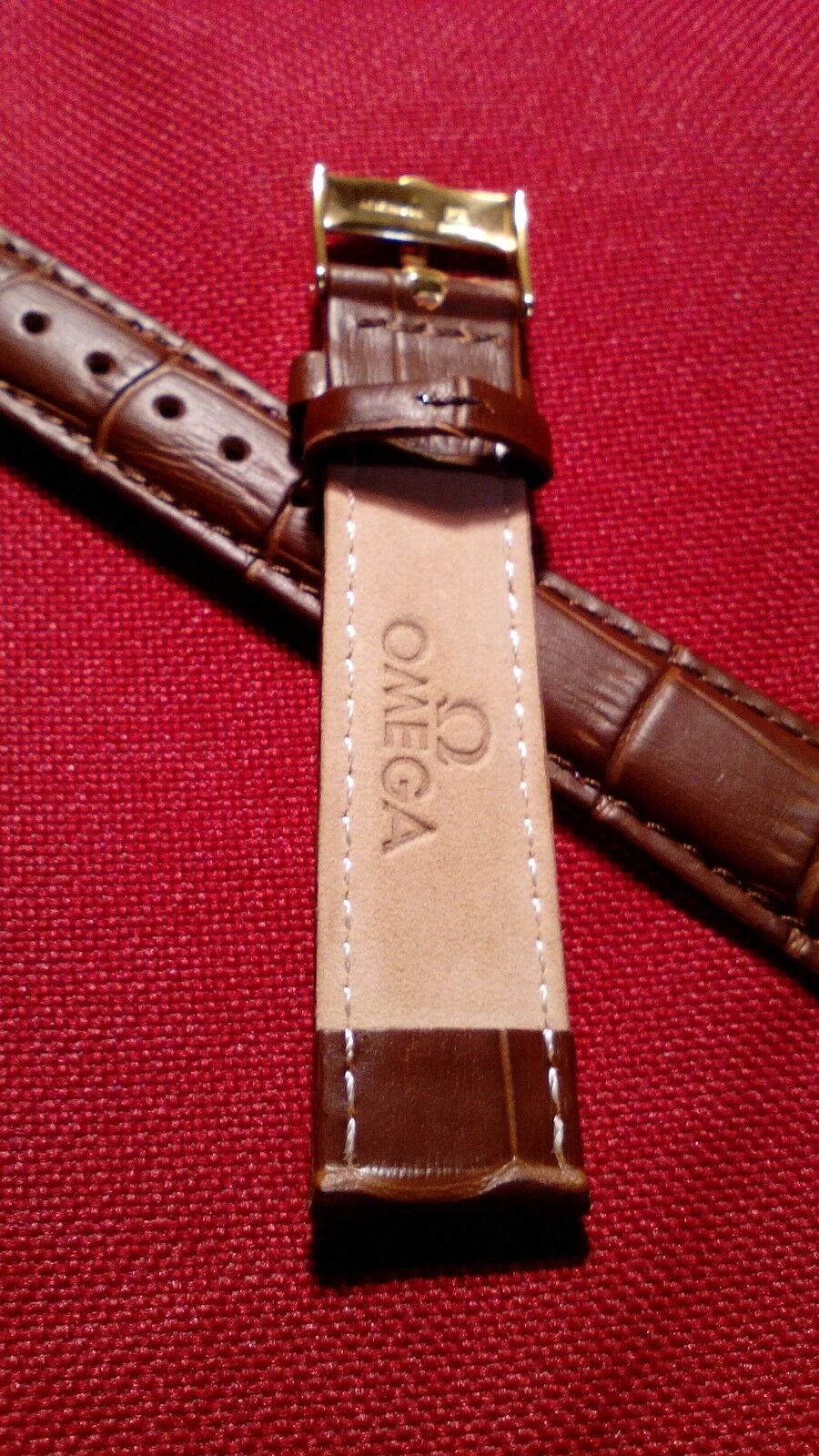 cinturino in vera pelle marrone, marcato Omega swiss made, ansa 18mm fibbia gold